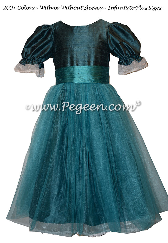 Blue Spruce and Hawaii (teal) Nutcracker Party Scene Dress Style 703 by Pegeen