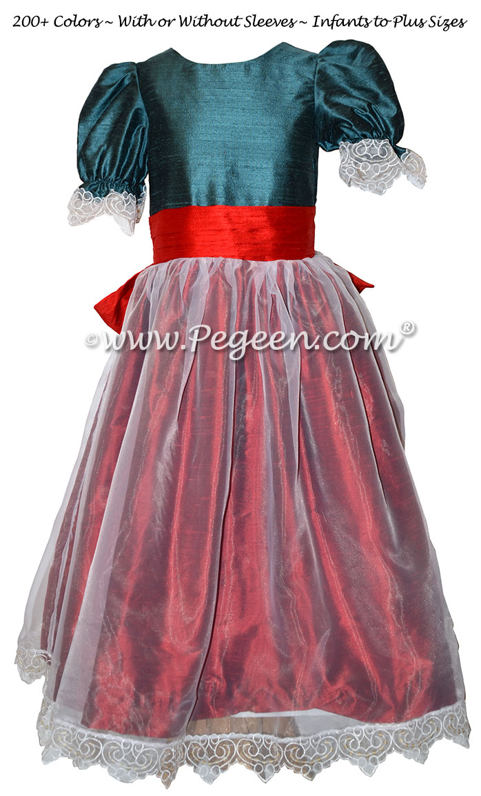 Claret, Christmas Red and Blue Spruce Tulle Nutcracker Party Scene Dress Style 703 by Pegeen