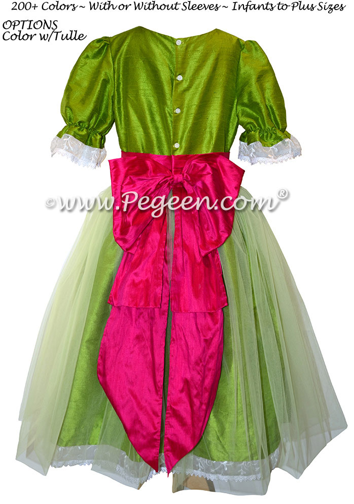 Apple Green and Raspberry Tulle Nutcracker Party Scene Dress Style 703 by Pegeen
