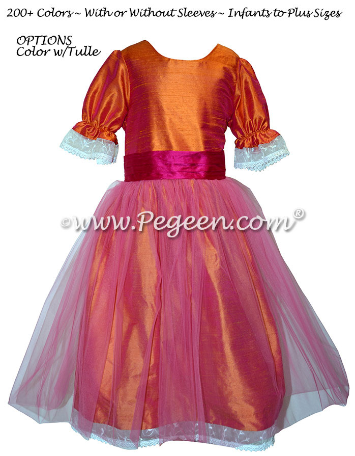 Mango and Raspberry Tulle Nutcracker Party Scene Dress Style 703 by Pegeen