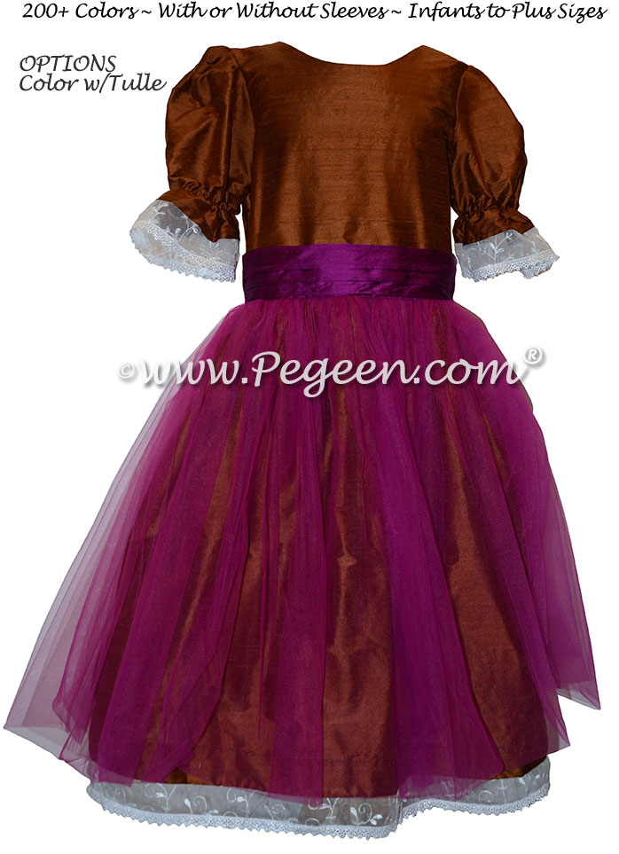 Papaya and Boisenberry SIlk Tulle Nutcracker Party Scene Dress Style 703 by Pegeen
