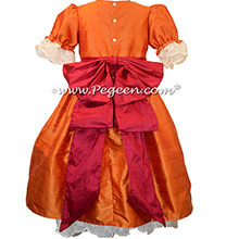 Pumpkin and Cranberry Silk Nutcracker Party Scene Dress Style 745 by Pegeen