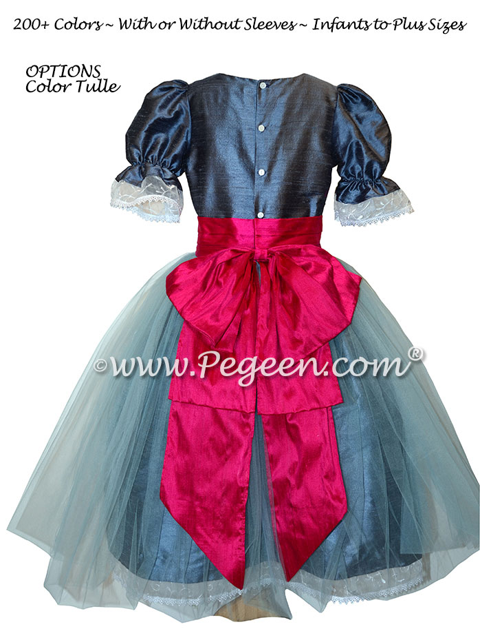 Arial Blue and Raspberry Tulle Silk Nutcracker Party Scene Dress Style 703 by Pegeen