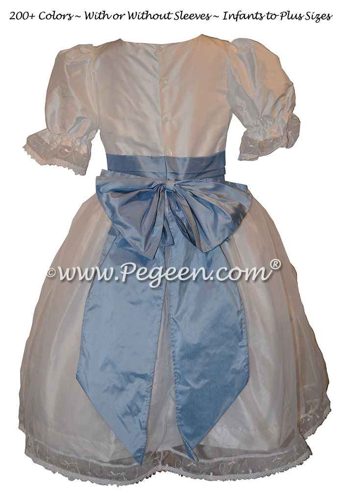 Antique White and Powder Blue Tulle Nutcracker Party Scene Dress Style 703 by Pegeen