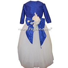 Antique White and Sapphire Blue ballerina style FLOWER GIRL DRESSES with Swarovski Crystals and layers of tulle and Glitter