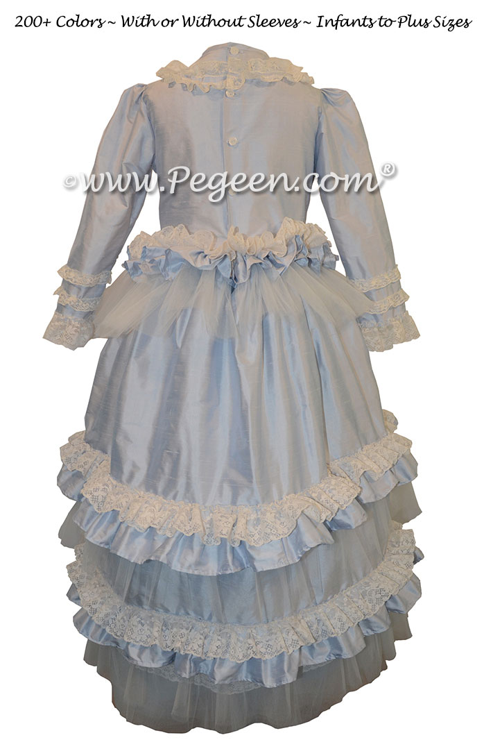 Flower Girl Dress Baby Blue Ruffled Layers and Tulle Couture Style 405 | Pegeen