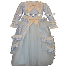 Baby Blue and Bisque Ruffled Layers and   Tulle  Flower Girl Dress Style 405 by Pegeen Couture