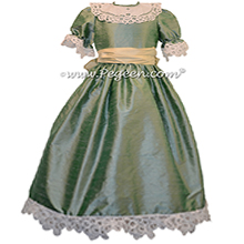 Celadon Green and Buttercreme Clara Nutcracker Party Scene Dress Silk Nutcracker Party Scene Dress Style 703 by Pegeen