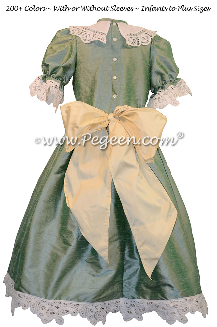 Celadon Green and Buttercreme Nutcracker Party Scene Dress Style 708 by Pegeen