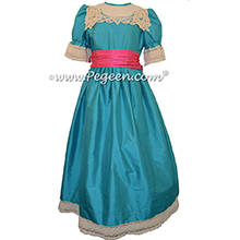 Oceanic Turquoise and Luscious Pink Clara Nutcracker Party Scene Dress Silk Nutcracker Party Scene Dress Style 708 by Pegeen