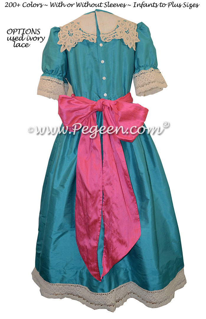 Oceanic Turquoise and Luscious Pink Nutcracker Party Scene Dress Style 708 by Pegeen
