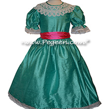 Paradise (light turquoise) and sash in Shock Pink with Battenburg Lace Clara Costume Nutcracker Dress