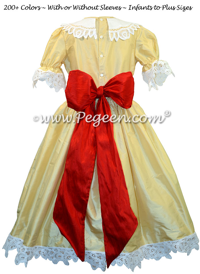 Spun Gold and sash in Christmas with Battenburg Lace Clara Costume Nutcracker Dress
