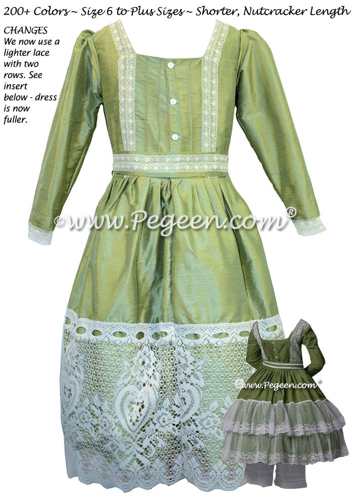 Sage Green and Lace Clara Nutcracker Party Scene Dress by Pegeen