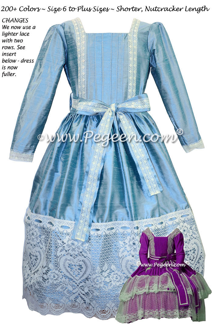 Adriatic Blue and Lace Clara Nutcracker Party Scene Dress by Pegeen