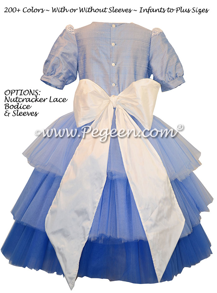 Denim Blue Ombre ballerina style Nutcracker Party Scene Dress for Clara with layers and layers of tulle by Pegeen