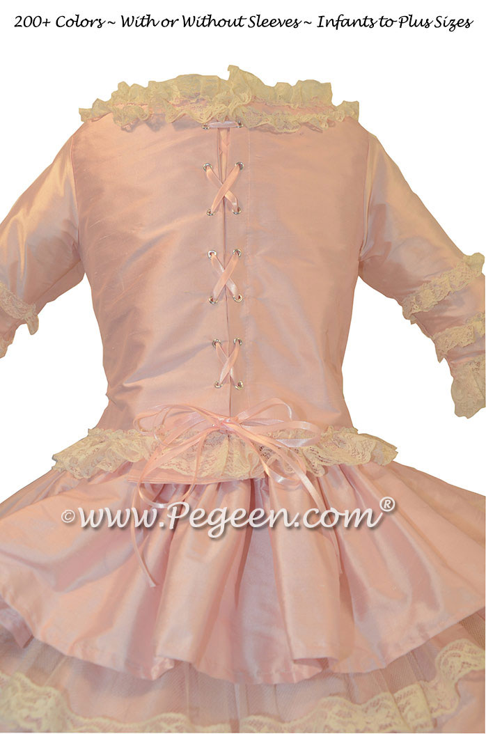 Nutcracker Style Period Dress for Clara in Silk with layers and layers of lace and tulle by Pegeen