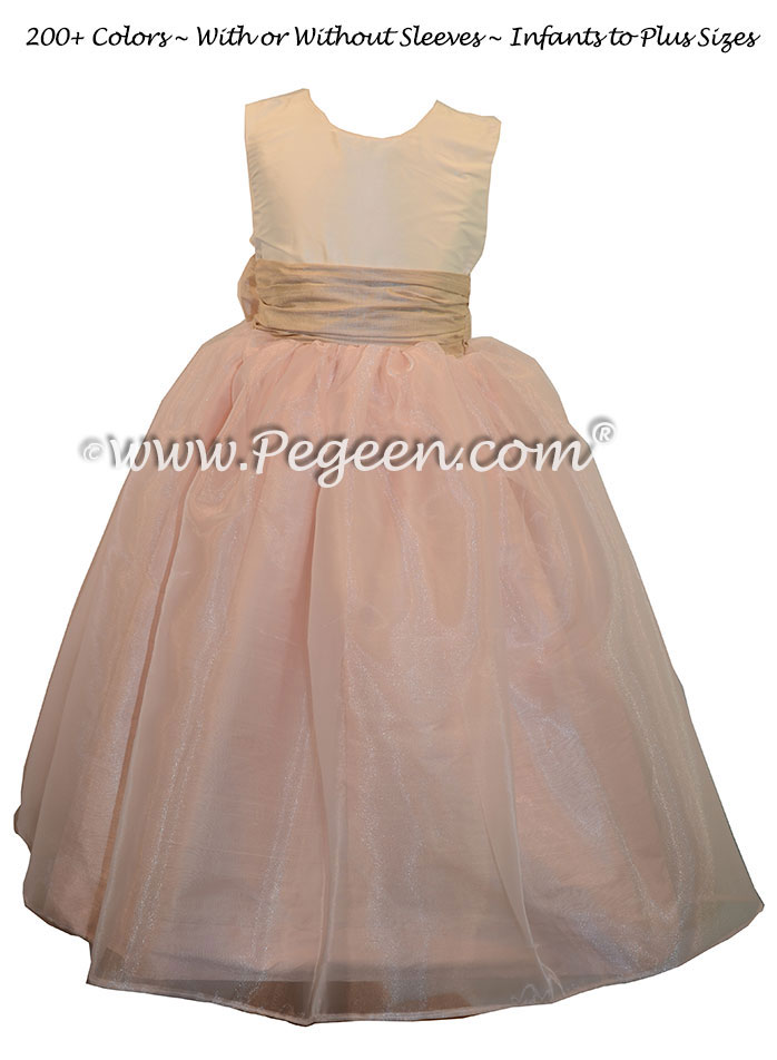 Custom Toffee and Baby Pink silk Organza Flower Girl Dresses by Pegeen