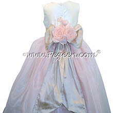 Custom Toffee and Baby Pink silk Organza Flower Girl Dresses Style 802