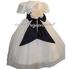 Midnight Blue and New Ivory infant flower girl dresses Pegeen style 802