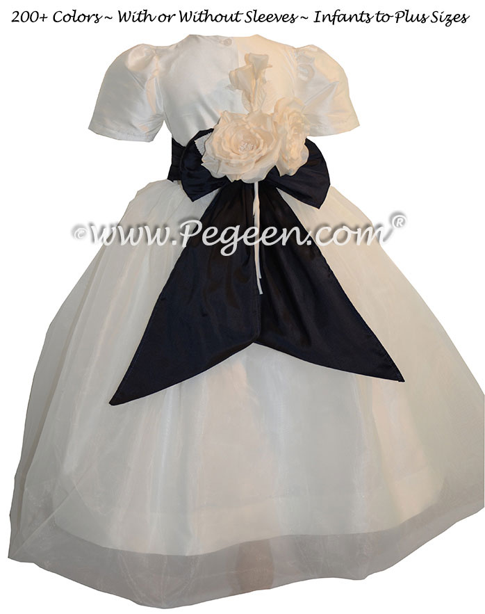 Midnight Blue and New Ivory Infant Flower Girl Dresses Style 802