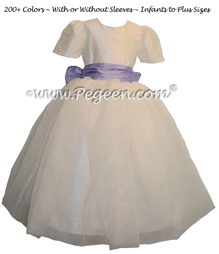 Lilac and New Ivory Infant Flower Girl Dresses