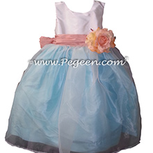 Baby Blue and Rum Pink Silk and Organza Flower Girl DressesBaby Blue and Rum Pink Silk and Organza Flower Girl Dresses