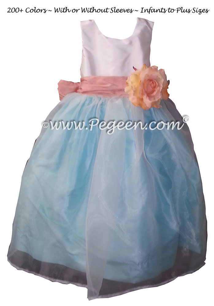 Pink and Blue silk and organza style Flower Girl Dresses
