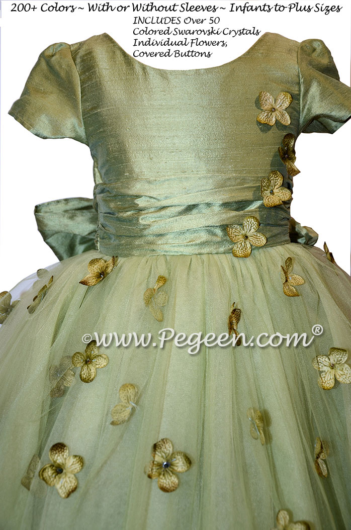 Flower Girl Dress Style 911 - Earth Fairy from the Fairytale Collection in Sage Green   Pegeen