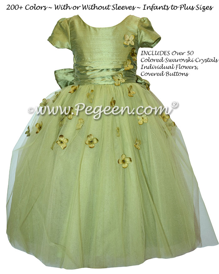 Flower Girl Dress Style 911 - Earth Fairy from the Fairytale Collection in Sage Green | Pegeen