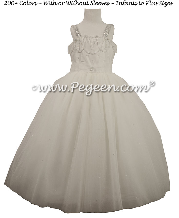 Antique White Silk and Tulle Silk Style 904 Flower Girl Dresses for First Communion