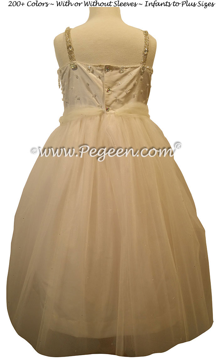 Champagne Pink Cotillion or Couture Topaz Fairy Flower Girl Dress w/Tulle, Drop crystal tulle and crystal jewels