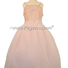 Swarovski Crystals, Beaded Tulle and Silk Flower Girl Dresses in Petal Pink with Crystals