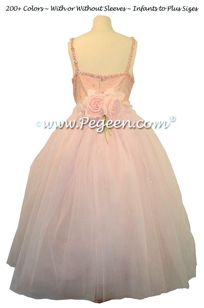 Silk Flower Girl Dress in Pink, Swarovski, Beaded Tulle and Silk for Kuwaiti Wedding | Pegeen