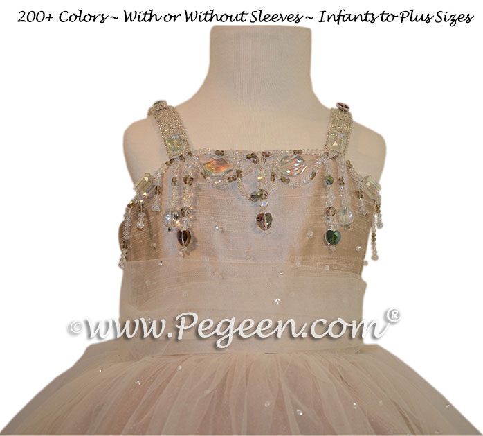 Toffee Flower Girl Dresses with Topaz Swarovski Crystals - Fairytale Collection style 904