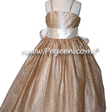 Gold Metallic Tulle Flower Girl Dress Style 909