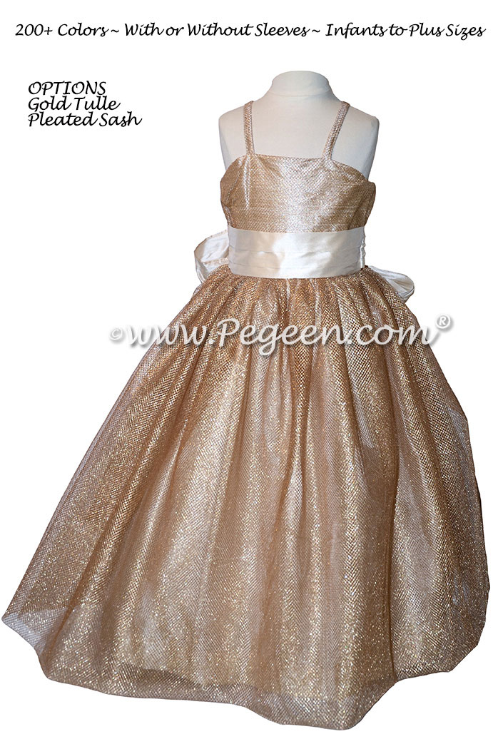 Flower Girl Dress in Gold Metallic Mesh Tulle - Style 909 | Pegeen