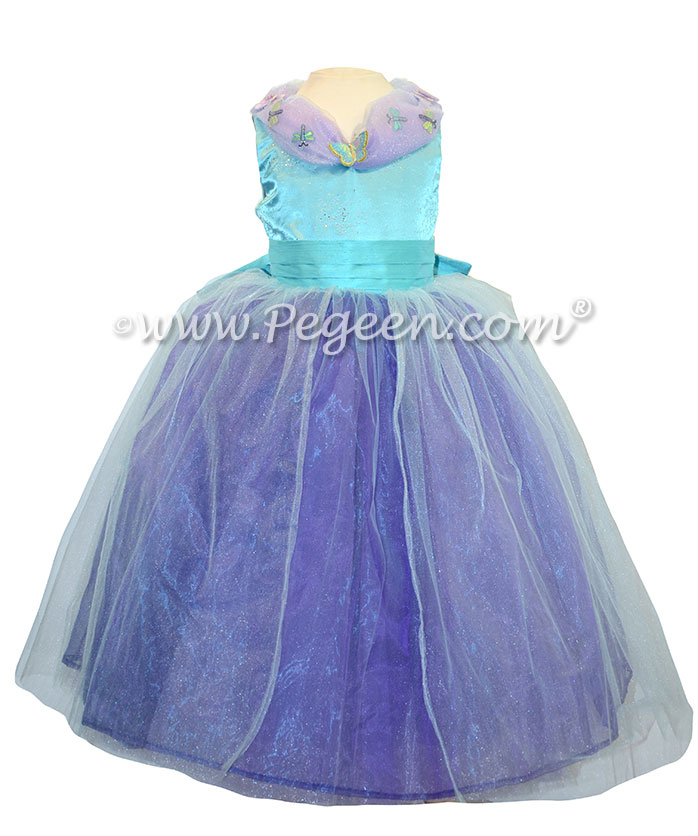 Flower girl dresses in Turquoise and Purple shades with butterflies - Our Cinderella Princess Flower Girl Dresses called Aura Quartz