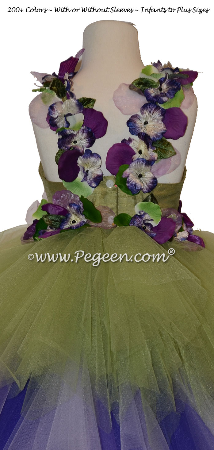 Enchanted Fairy Handkerchief Tulle Skirt with Flower Trim Style 920 | Pegeen