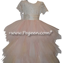 Light Pink Handkerchief Tulle Skirt with Aloncon Lace  top Style 921 | Pegeen