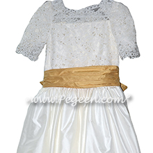 Ivory Aloncon Lace and Spun gold custom silk flower girl dresses with 3/4 sleeves