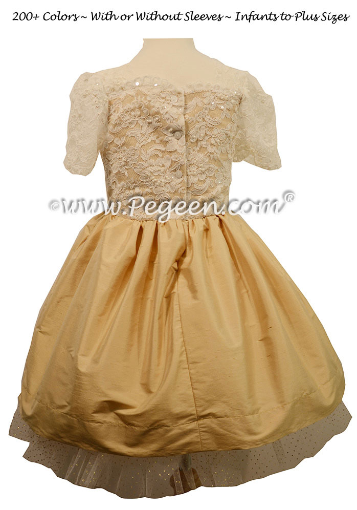 Bat Mitzvah Dress with Ivory Aloncon Lace Spun Gold Tulle  | Pegeen