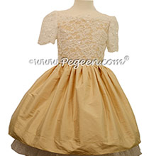 New Ivory and Spun Gold  tulle Bat Mitzvah dresses with Aloncon Lace with layers and layers of tulle