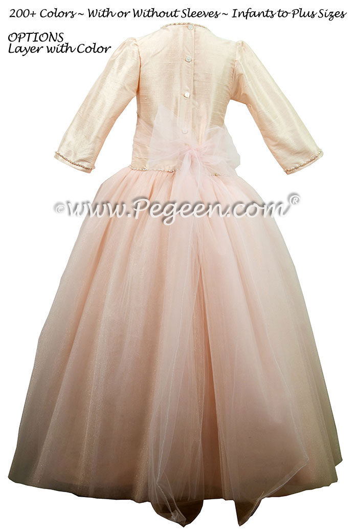 Jr. Bridesmaids Dress in Baby Pink - Custom Tulle Ballerina Style | Pegeen