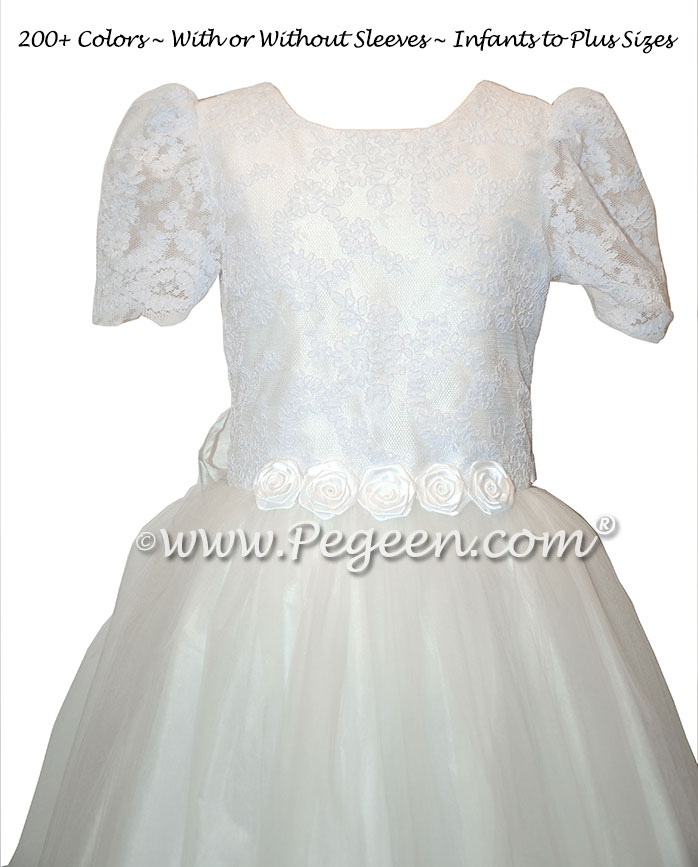 Communion Dress  - Antique White Aloncon, Petals in Tulle Skirt | Pegeen
