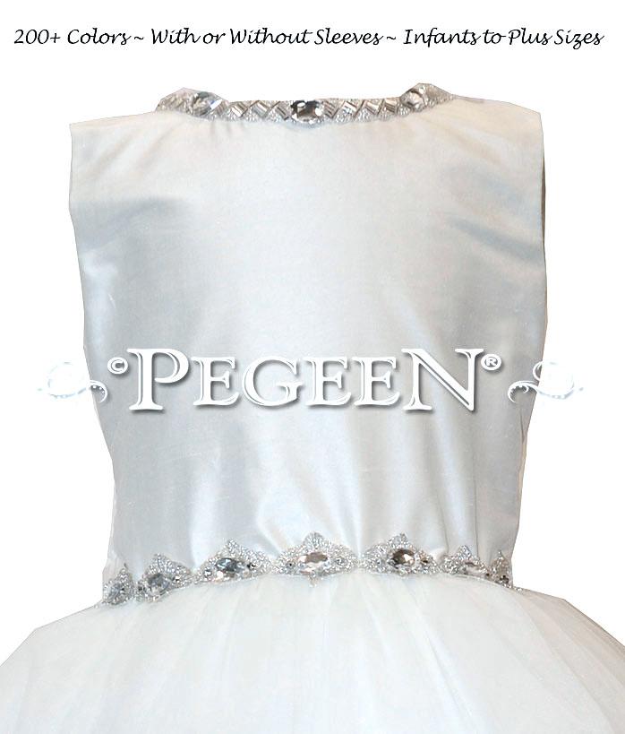 White Silk First Communion Dress or Cotillion Dress with Rhinestone Trim