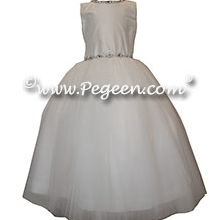 White Silk First Communion Dress or Cotillion Dress with Rhinestone Trim