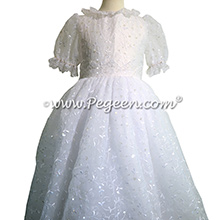 First Communion Dress with Embroidered Organza and Sequins - Style 980