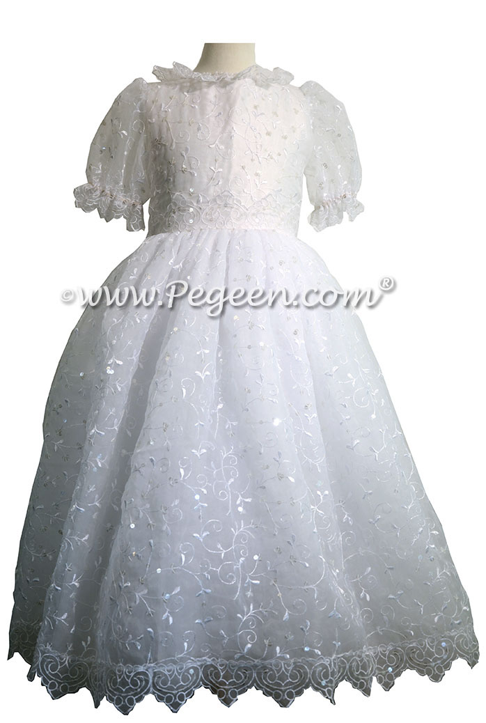 First Communion Dress in embroidered organza, sequins and tulle
