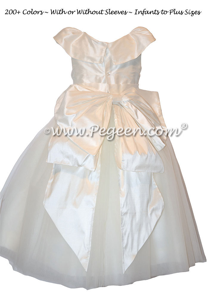 First Communion Dress Style 981 with Open Neck and Collar